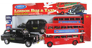 Welly London Red Bus and Black Taxi Friction Models Made of Die Cast Metal and