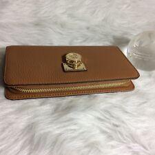 Michael Kors Hamilton Traveler Zip Around Leather Wallet Clutch. ACRN/Almond