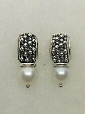 Michael Dawkins Sterling Silver 925 Granulated Pearl Earrings w 14K Gold Posts