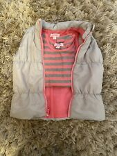 Girls 6x Spring Winter Puffer Vest & Top Set Hot Pink Stripped Grey Gently Used