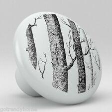 Modern Black Tree Ceramic Knobs Pulls Kitchen Drawer Cabinet Vanity Closet 565