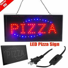 "Pizza Pie Shop By the slice Open Store Animated Led Window Sign 19x10"" Light Ww"