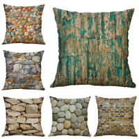 Stone Print Cotton Linen Pillow Case Sofa Throw Cushion Cover Home Decor 18""