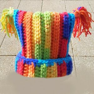 HAND CROCHETED RAINBOW STRIPED HAT square beanie tassels birthday gift warm PY1
