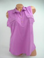 Basic Editions Womens Tank Top Solid Purple Eyelet Collared Sleeveless