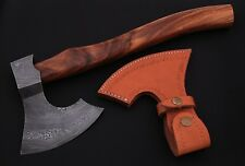 DAMASCUS Steel BLADE FUNCTIONAL,TOMAHAWK,AXE, ROSE WOOD HANDLE.