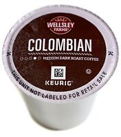 Wellsley Farms Colombian Coffee 100% Arabica Medium-Dark Roast Keurig K-Cup Pods