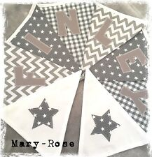 Baby Boy Personalised NAME BUNTING/BANNER Grey White Stars