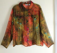 Chicos 3 XL Funky Asian Red Silk Fine Lightweight Art Jacket Topper Blouse