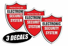 3 PACK - SECURITY SYSTEM DECALS sticker decal label video warning cctv camera al