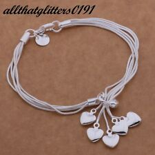 Silver Plated Multi Strand Five Heart Bracelet