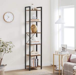 Tall Narrow Bookcase Vintage Industrial Display Unit Slim Rustic Storage Cabinet