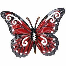 Piccola Farfalla in Metallo Rosso per Giardino//Casa Wall Art Ornamento 11x8.5cm