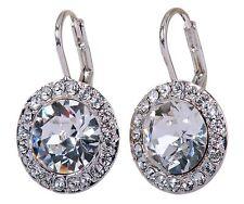 Swarovski Elements Crystal Round Halo Pierced Earrings Rhodium Authentic 7159z