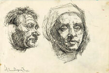 ALBUM PAGE with drawings by Russian artist N.Sheberstov Portraits Glass of water