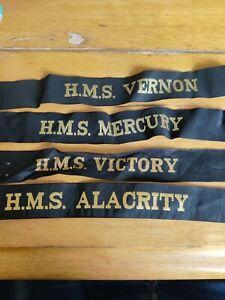 4 x Royal Navy Cap Tallies H.M.S Victory Vernon Alacrity Mercury