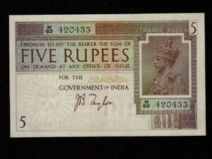 India:P-4b,5 Rupees,1917-1930 * King George V * Taylor Sign * AU-UNC *