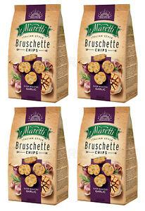 4 x BRUSCHETTE MARETTI Roasted Garlic Flavor Oven Baked Bread Bites Snacks 70g