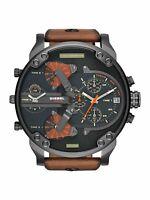 DIESEL Mr DADDY 2.0 DZ7332 Black Dial Brown leather Gunmetal Wrist Watch for Men