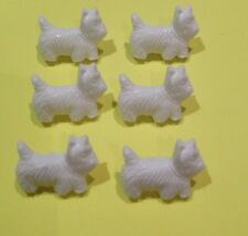 WESTIE DOG BUTTONS - Novelty Buttons - 6 x White Buttons - Crafts - Sewing