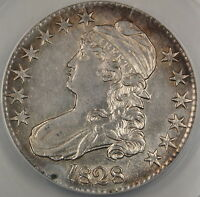 1828 Bust Silver Half Dollar, ANACS AU-55 Details, Cleaned, Curl Base 2