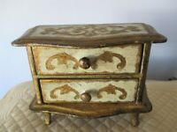 Hand Crafted Off-White & Gold Italian Florentine Tole Wood Jewelry Box Chest
