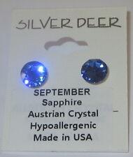 Sapphire Blue Austrian Crystal Earrings 8mm Pierced Hypo September Birthstone