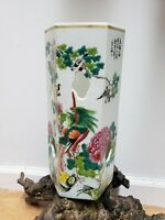 Antique Chinese Porcelain Famille Rose Hexagon Vase