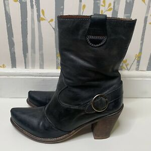 SIXTYSEVEN • Charcoal Grey Leather Western Style Heeled Boots • Size Eur 40 UK 7