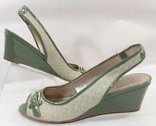Circa Joan David Luxe Green Patent Leather Fabric Wedge Slingbk Shoes Women 7.5M