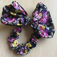 A Pretty Black Bow Flower Print Silky Mini Scrunchie Ponytail Band Bobble