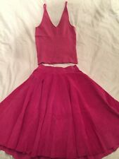 TSE Cashmere Top And High Waist Suede Pleated Pink Skirt Set
