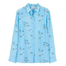 NWT 165USD DM size XS blue printed silk button-down blouse Equipment fabric