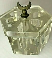 Antique Glass Crystal Inkwell with Multiple color holders