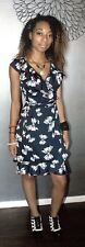 Navy Blue white BOWS red trim WRAP DRESS Susie Rose Medium S/M Swing Rockabilly