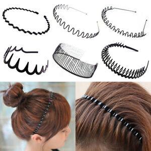 Women/Men's Hippie Wavy Zigzag Sport Metallic Hair Band Hoop Head Band Black