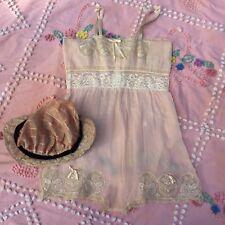 Antique 1920s Pink Cotton & Lace Teddy Romper Play Suit Silk Ribbon Straps Vtg