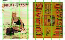NH156 1/2 Set N SCALE LG WALL ADVERTISING SIGNAGE RADIO MUSTARD COLMAN'S PHILIPS