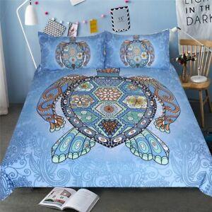 Duvet Bed Cover Set Turtles Blue Tortoise Mandala Print Home Textile 3-Piece New