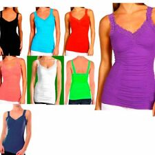 Sexy Seamless Stretch Lace Trim Spaghetti Rouched Camisole Tank Top Cami OneSize