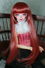 "1/3 8-9"" BJD DOLL WIG SD STRAWBERRY RED STRAIGHT BANGS DOLLFIE JR-108 USA NEW"