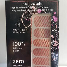 16 Silver Nail Patch Foils with Red Line Design