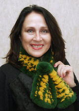 Green and Gold Rex Rabbit Fur Scarf with Rosette