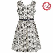 LindyBop Childrens Mini Daria Black Crochet Print Vintage Swing Party Dress 3-4