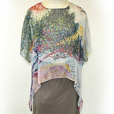 NEW NWT Cocoon House Wearable Art Floral Sheer 100% Silk Pointed Top Large / XL