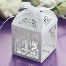 50PCS Love Bird Heart Laser Cut Candy Gift Boxes With Ribbon Wedding Party Favor