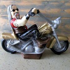 BIKER auf MOTORRAD 57 cm Fahrer Chopper Kluft Garten Deko Figur Statue Skulptur