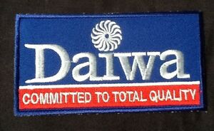 BLUE DAIWA FISHING BADGE IRON SEW ON PATCH COMMITTED TO QUALITY ANGLER FISH