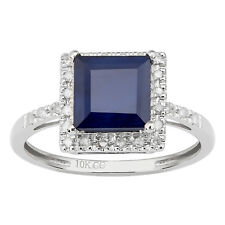 10k White Gold Princess-Cut Sapphire and Diamond Halo Engagement Ring