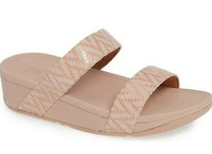 Fitflop Lottie Chevron Slide Womens Suede Wedge Heel Sandals OYSTER PINK Size 10